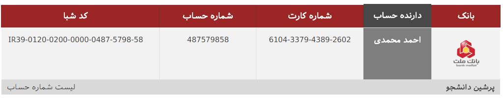 شماره حساب پرشین دانشجو