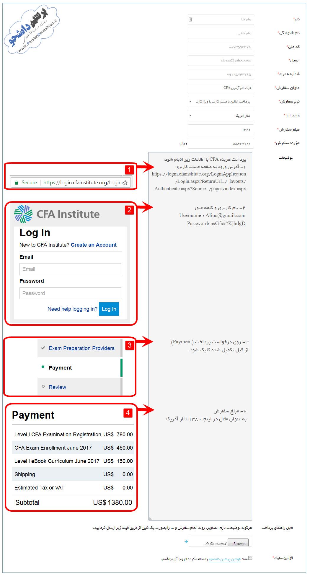 پرداخت هزینه آزمون CFA