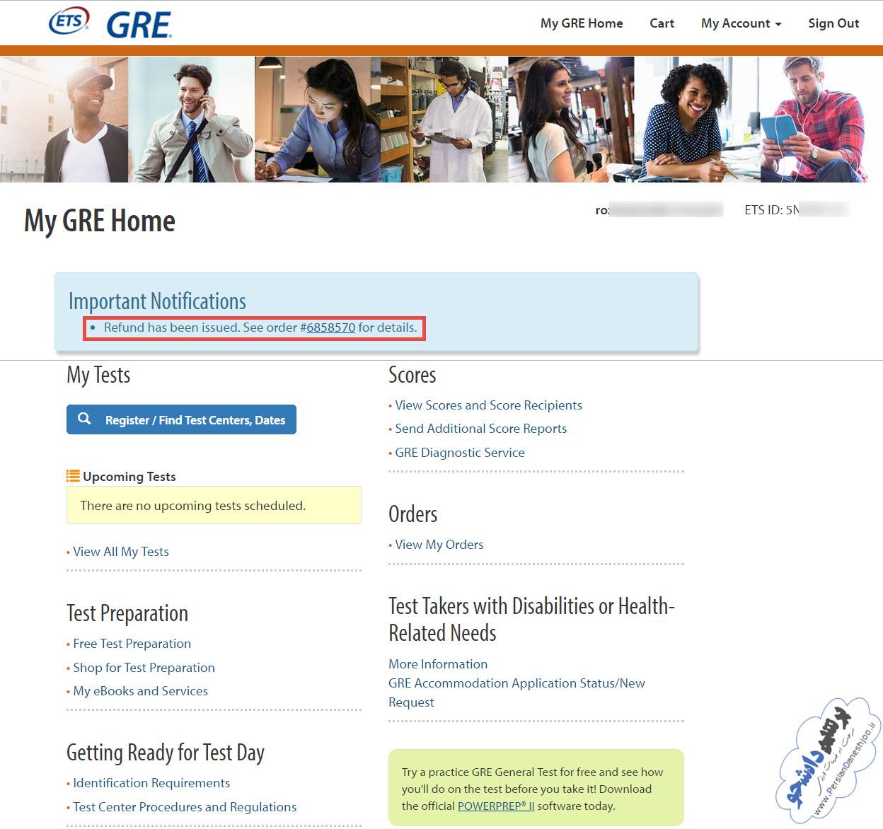 راهنمای لغو آزمون GRE