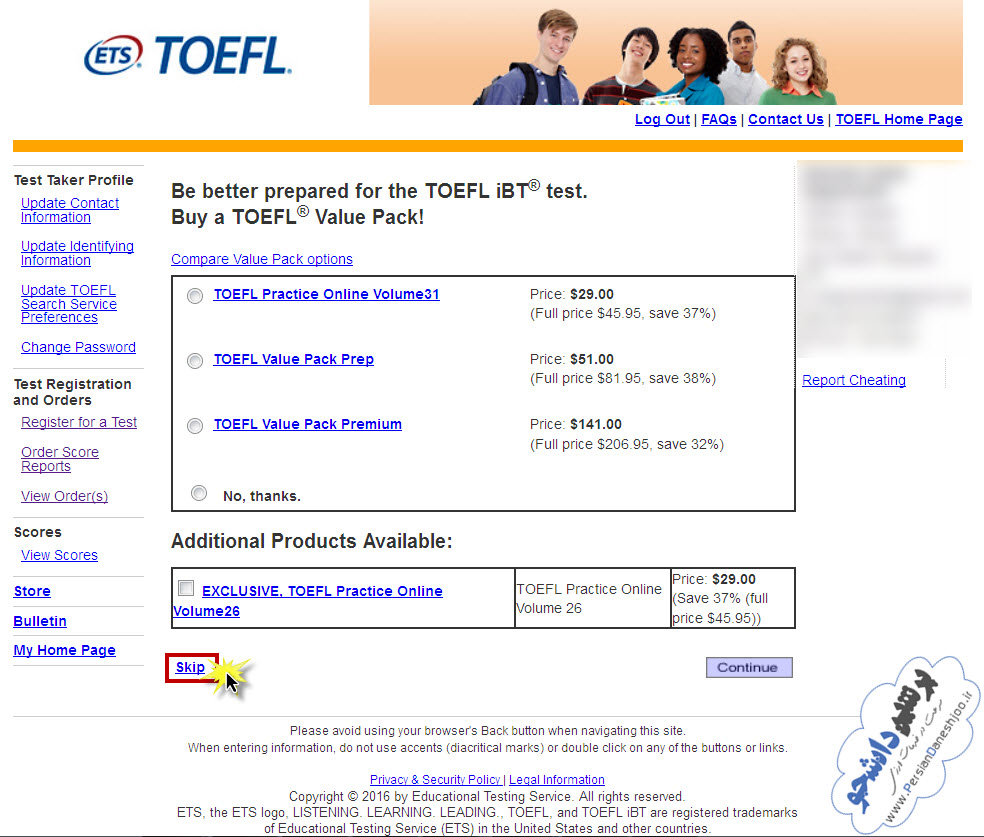 تغییر زمان و مکان آزمون تافل iBT