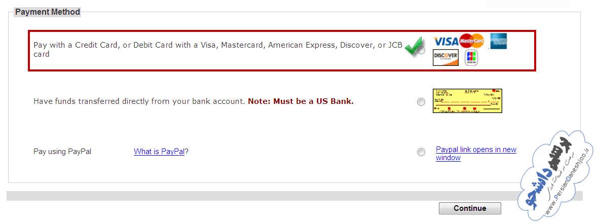 پرداخت آنلاین با کارت های اعتباری ویزا / مستر کارت